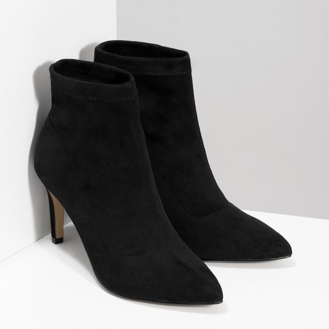 Kotníčkové dámské kozačky na jehlovém podpatku bata, černá, 799-6620 - 26