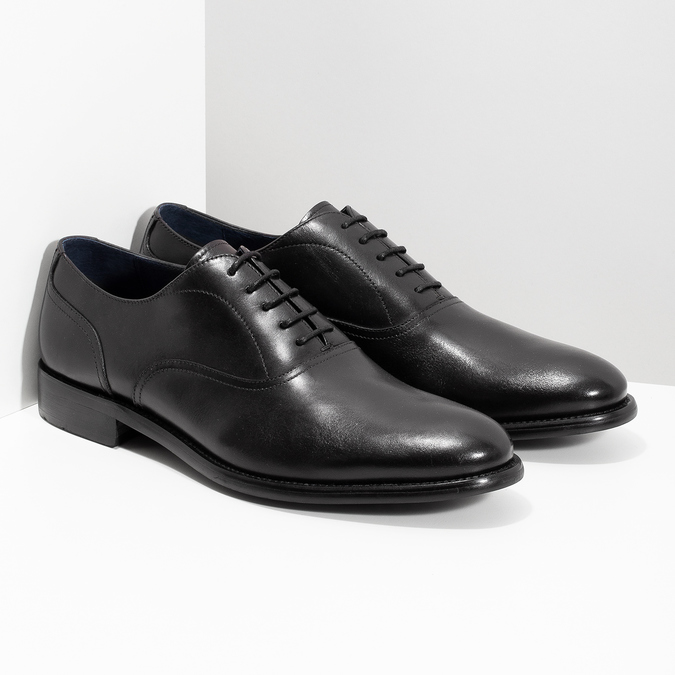 Pánské černé kožené Oxford polobotky bata, černá, 824-6615 - 26