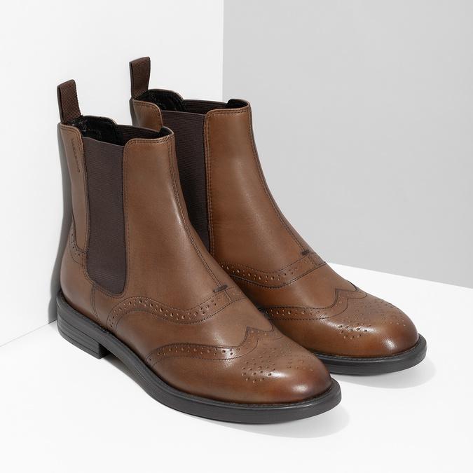 Dámská hnědá kožená Chelsea obuv vagabond, hnědá, 514-3002 - 26