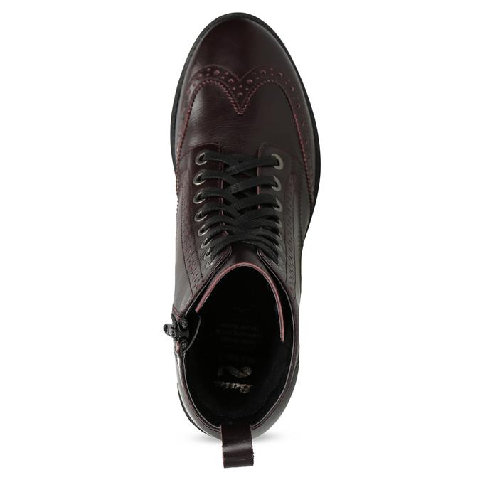 Kožená dámská kotníčková obuv vínová flexible, červená, 596-5695 - 17