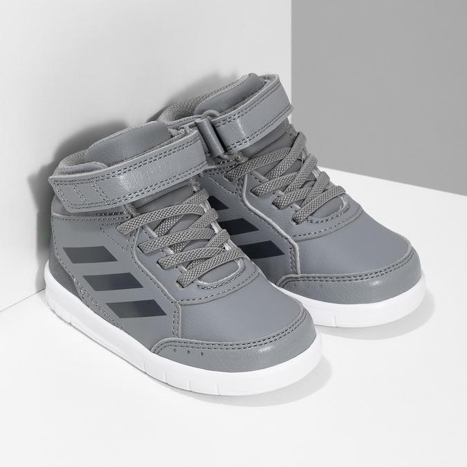 Šedé kotníčkové dětské tenisky na suchý zip adidas, šedá, 101-2220 - 26