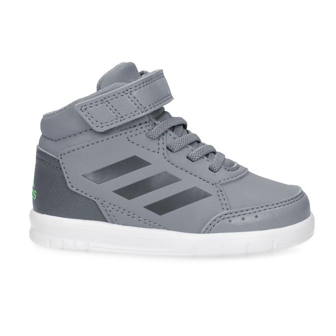 Šedé kotníčkové dětské tenisky na suchý zip adidas, šedá, 101-2220 - 19