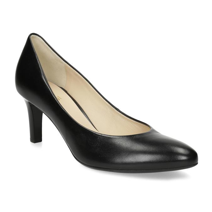 Černé kožené dámské lodičky hogl, černá, 724-6085 - 13