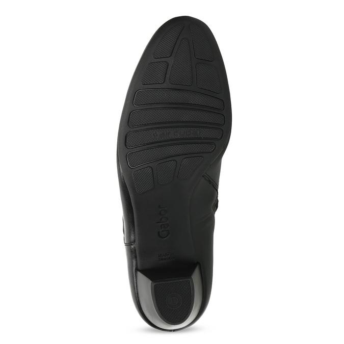 Černé kožené kotníčkové kozačky s mašlí gabor, černá, 614-6005 - 18