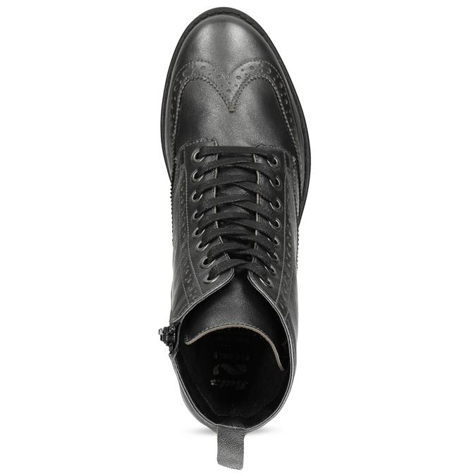 Dámská kotníčková obuv kožená metalická flexible, stříbrná, 596-6695 - 17
