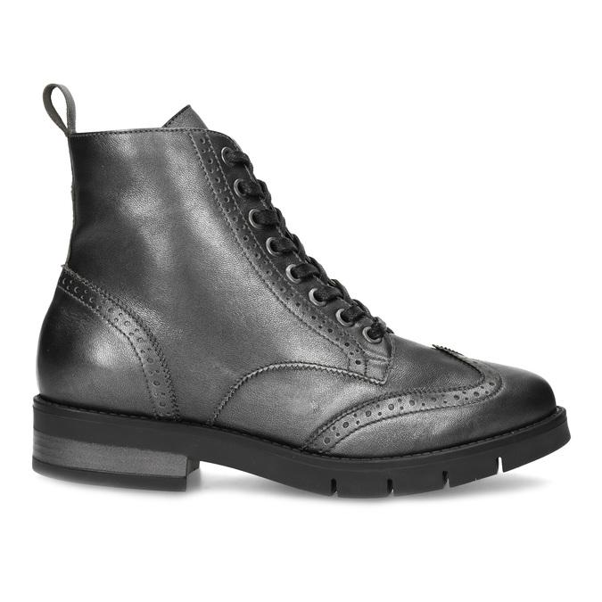 Dámská kotníčková obuv kožená metalická flexible, stříbrná, 596-6695 - 19