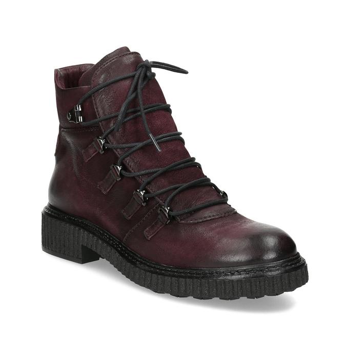 Vínová kožená kotníčková obuv se šněrováním bata, červená, 596-5719 - 13