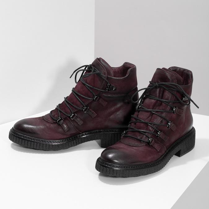 Vínová kožená kotníčková obuv se šněrováním bata, červená, 596-5719 - 16