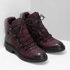 Vínová kožená kotníčková obuv se šněrováním bata, červená, 596-5719 - 26