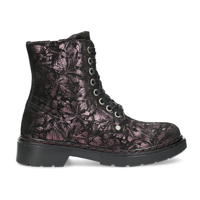 Kotníčková kožená dětská obuv se vzorem mini-b, hnědá, 426-4560 - 19