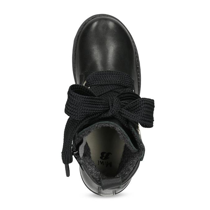Kožená kotníčková dětská obuv mini-b, černá, 424-6600 - 17