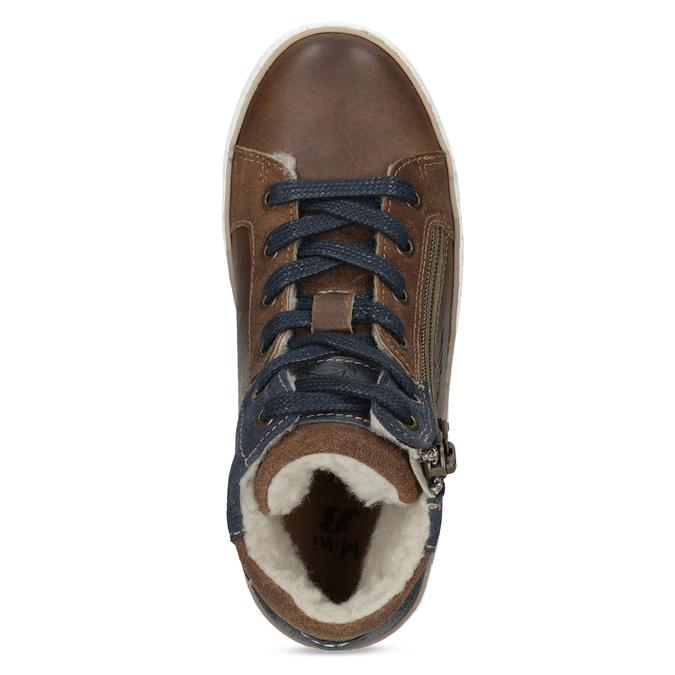 Hnědá kožená dětská kotníčková obuv mini-b, hnědá, 414-3602 - 17