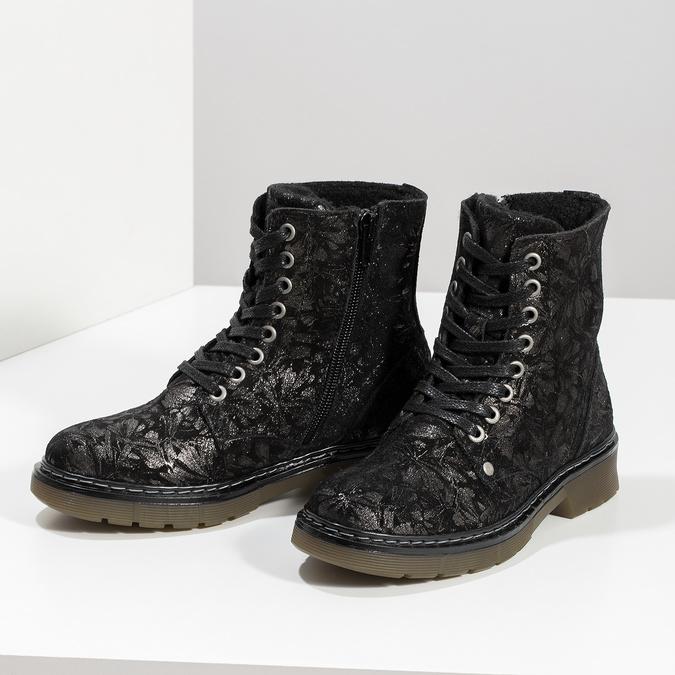 Dětská kožená kotníčková obuv se vzorem mini-b, černá, 426-2560 - 16