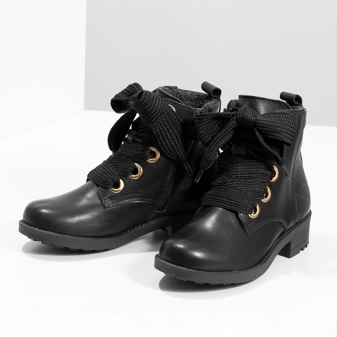 Kožená kotníčková dětská obuv mini-b, černá, 424-6600 - 16