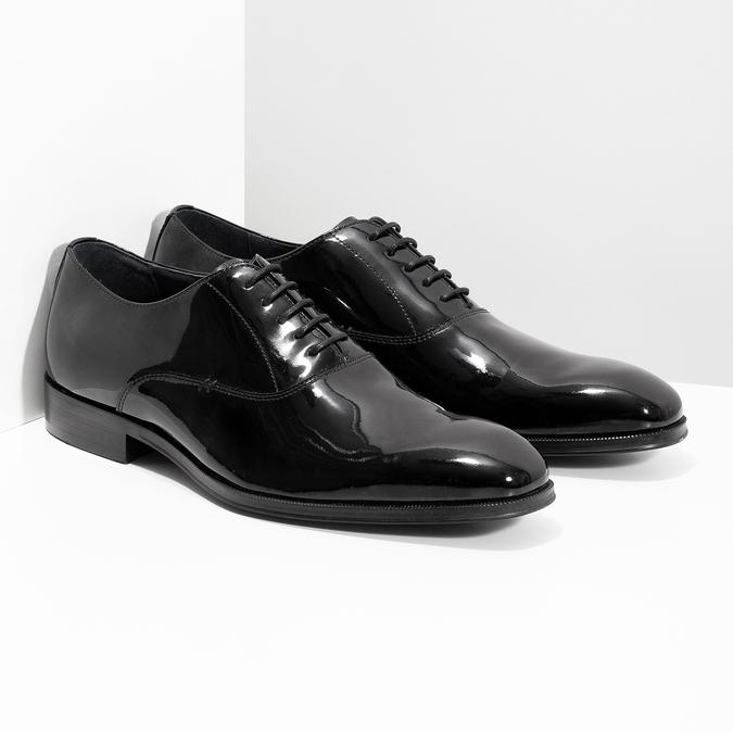 Pánské lakované kožené Oxford polobotky bata, černá, 828-6608 - 26