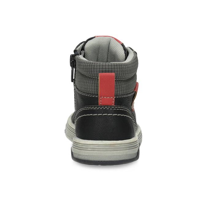 Kotníčkové dětské tenisky s červenými detaily mini-b, černá, 211-6626 - 15