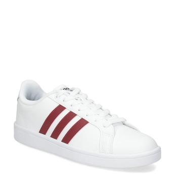 Bílé pánské tenisky s vínovými detaily adidas, bílá, 801-5378 - 13