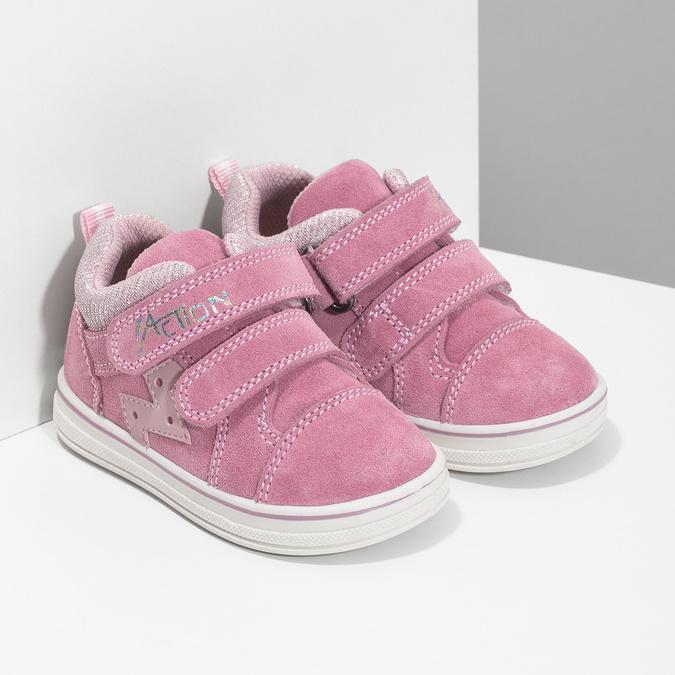 Růžové dětské kožené tenisky bubblegummers, růžová, 123-5611 - 26