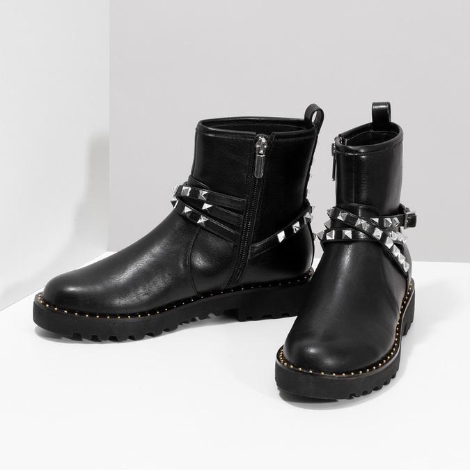 Černé dámské kozačky s kovovými cvoky bata, černá, 591-6633 - 16