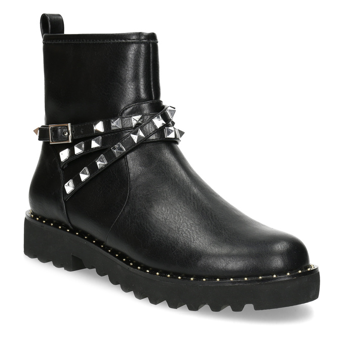 Černé dámské kozačky s kovovými cvoky bata, černá, 591-6633 - 13