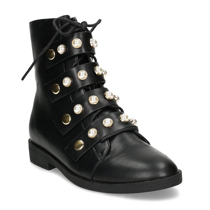 Vysoká kotníčková obuv s perličkami bata, černá, 591-6634 - 13
