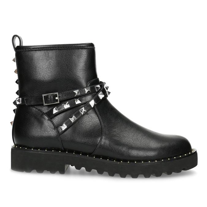 Černé dámské kozačky s kovovými cvoky bata, černá, 591-6633 - 19
