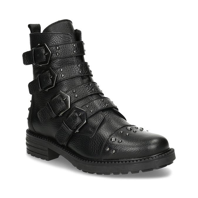 Dámské zimní polokozačky s přezkami bata, černá, 596-4705 - 13