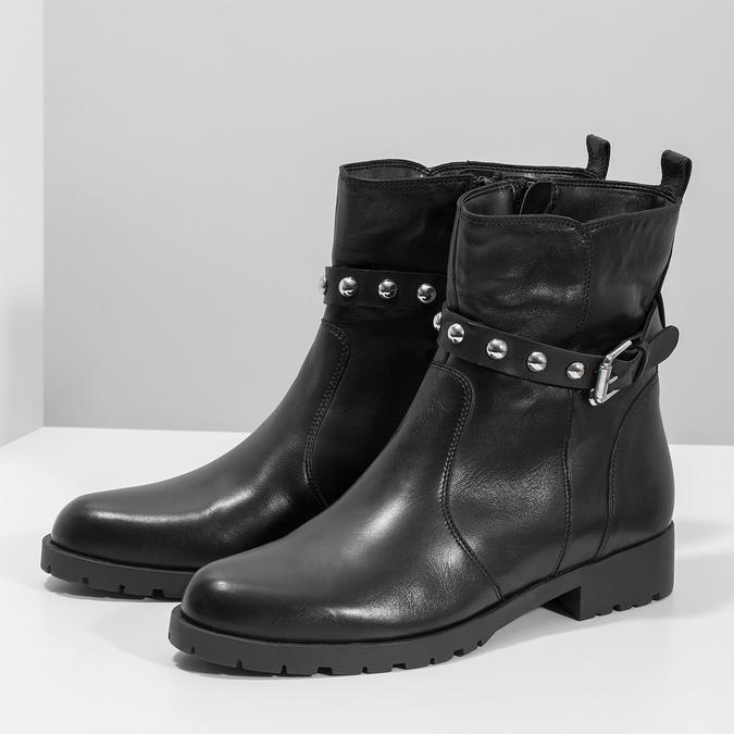 Černá kožená kotníčková obuv s kovovými cvoky bata, černá, 594-6671 - 16