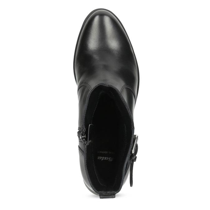 Černá kožená kotníčková obuv s kovovými cvoky bata, černá, 594-6671 - 17