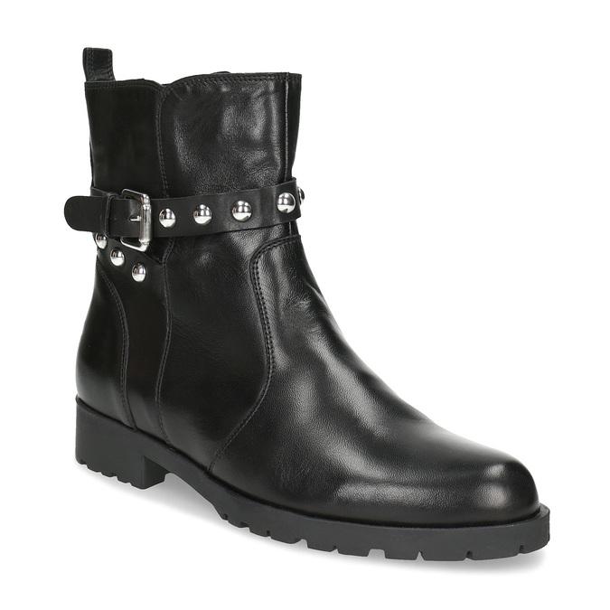 Černá kožená kotníčková obuv s kovovými cvoky bata, černá, 594-6671 - 13
