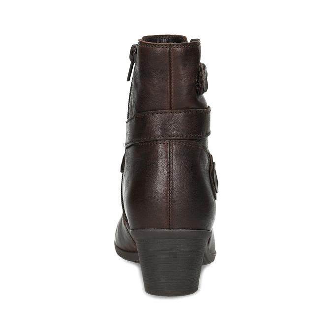 Hnědá kožená obuv s prošitím gabor, hnědá, 616-4123 - 15
