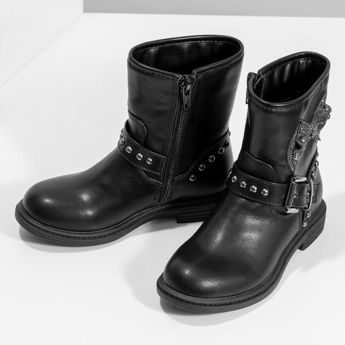 Dětské kozačky černé s mašlí mini-b, černá, 291-6132 - 16