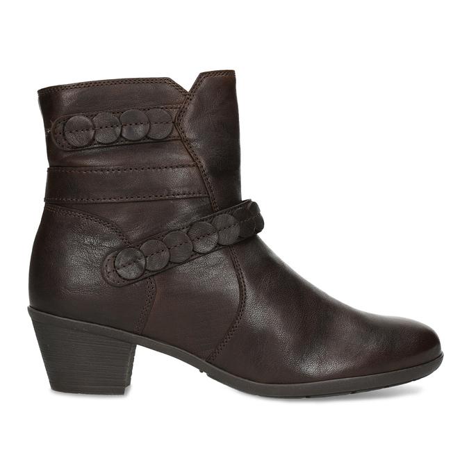 Hnědá kožená obuv s prošitím gabor, hnědá, 616-4123 - 19