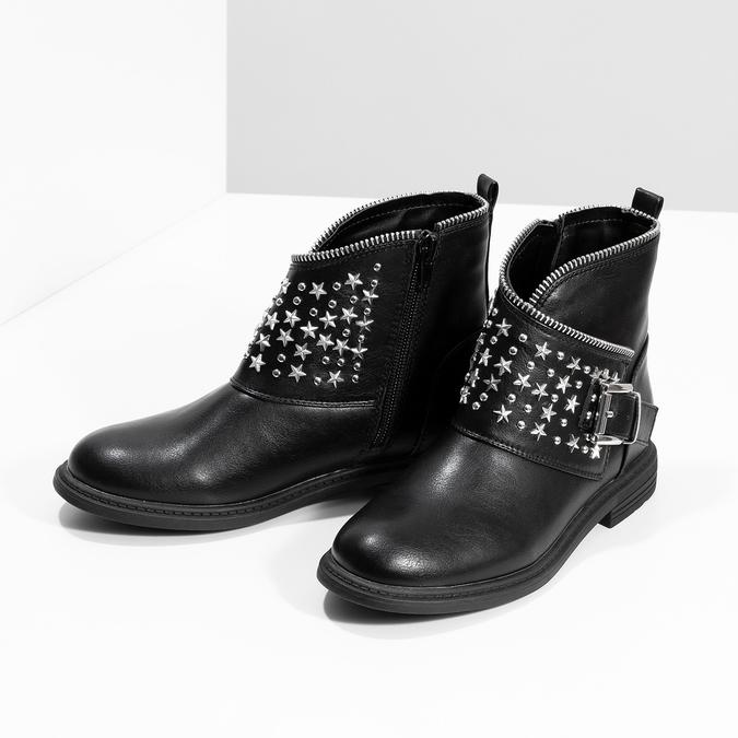 Dívčí kotníkové kozačky s hvězdičkami mini-b, černá, 391-6264 - 16