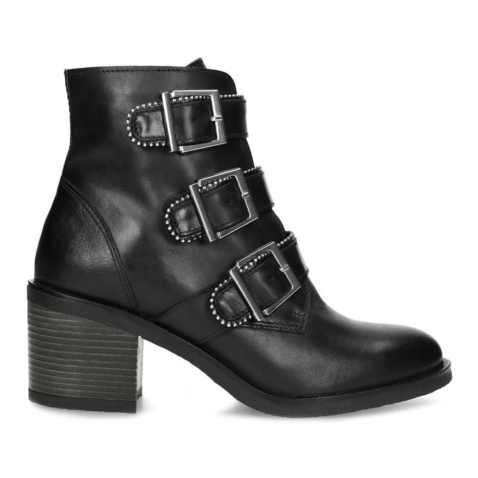 Kožená dámská kotníčková obuv s přezkami bata, černá, 694-6670 - 19