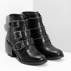 Kožená dámská kotníčková obuv s přezkami bata, černá, 694-6670 - 26