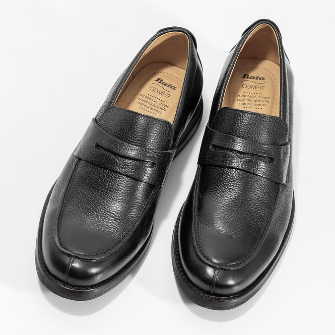 Kožené Penny Loafers mokasíny černé comfit, černá, 814-6627 - 16