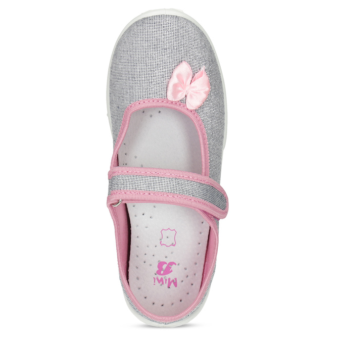 Dětská domácí obuv s mašličkou mini-b, stříbrná, 379-1314 - 17