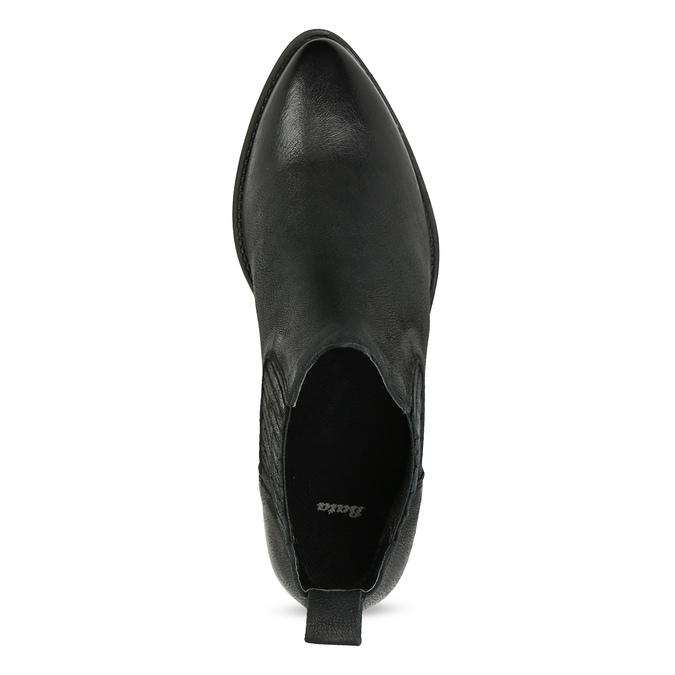 Dámská kožená kotníčková obuv s pružením bata, černá, 596-6969 - 17