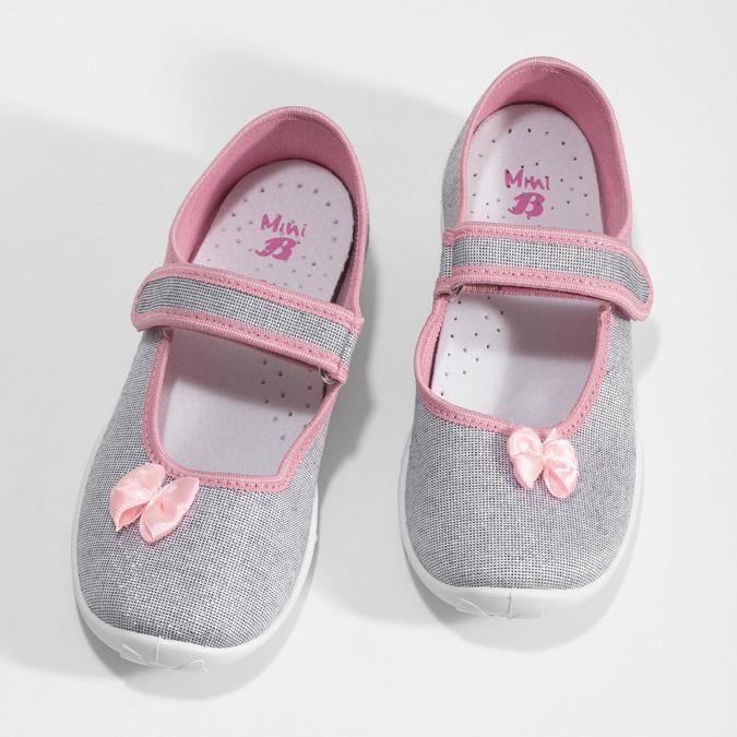 Dětská domácí obuv s mašličkou mini-b, stříbrná, 379-1314 - 16