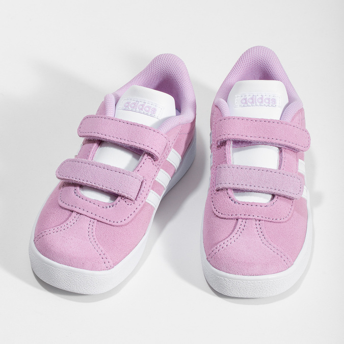 Růžové kožené dětské tenisky adidas, růžová, 103-5203 - 16