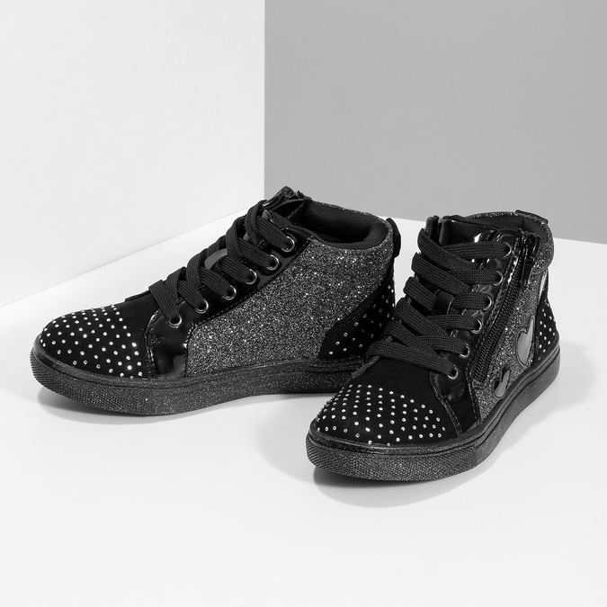 Dívčí kotníčkové tenisky s kamínky mini-b, černá, 229-6226 - 16