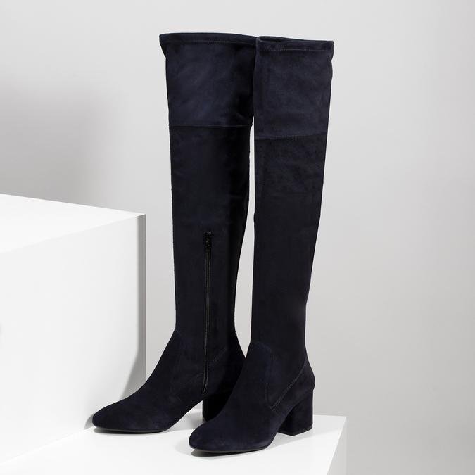 Modré dámské kozačky nad kolena bata, modrá, 793-9614 - 16
