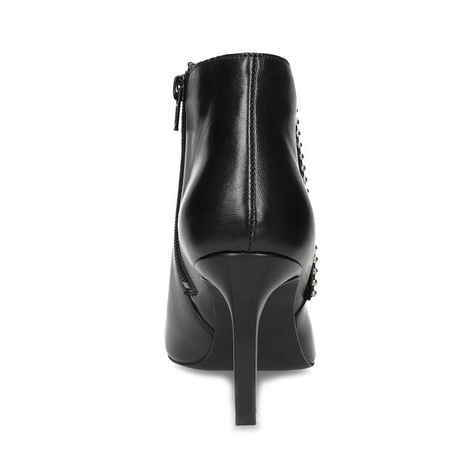 Kožená kotníčková obuv s kovovou aplikací bata, černá, 796-6659 - 15