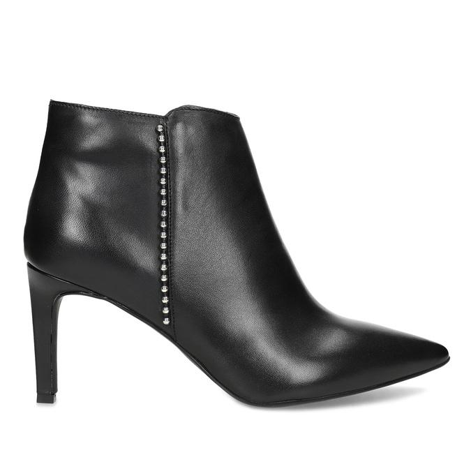 Kožená kotníčková obuv s kovovou aplikací bata, černá, 796-6659 - 19