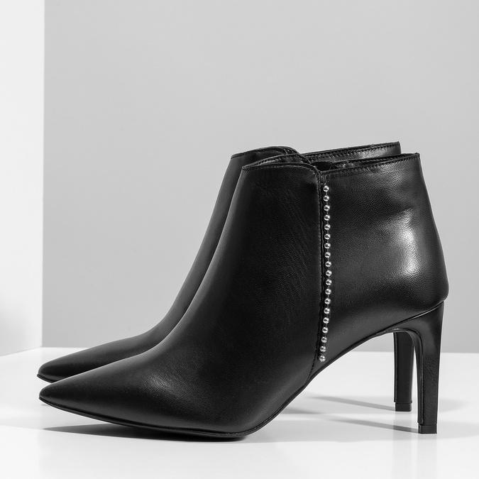 Kožená kotníčková obuv s kovovou aplikací bata, černá, 796-6659 - 16