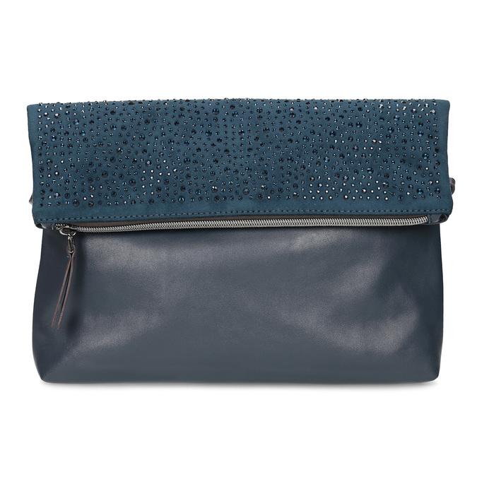 Tmavě modré psaníčko s klopnou a kamínky bata, modrá, 961-9910 - 26