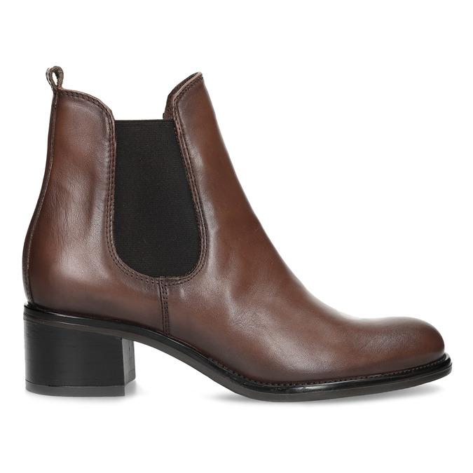 Kožené dámské Chelsea na podpatku bata, hnědá, 694-4667 - 19
