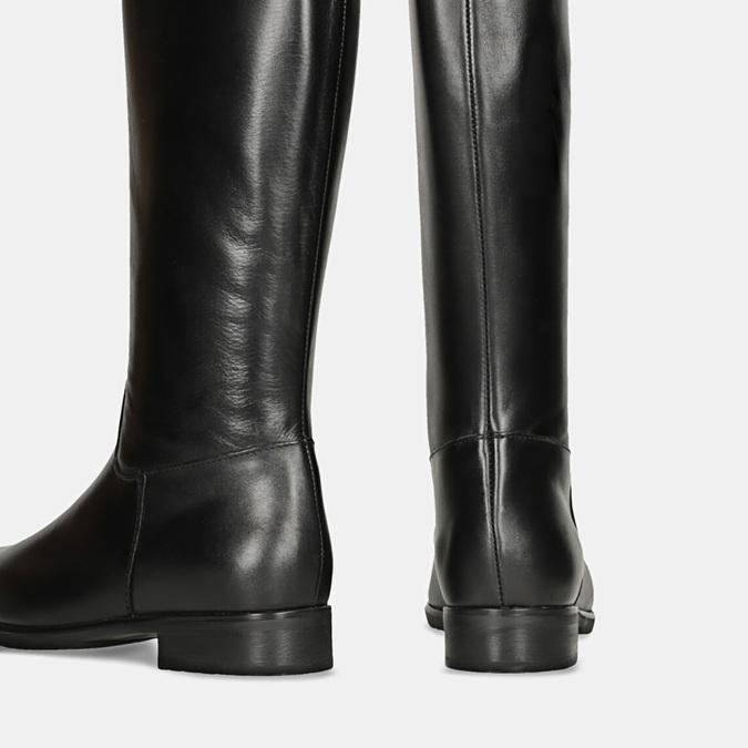 Černé kožené kozačky bata, černá, 594-6675 - 16