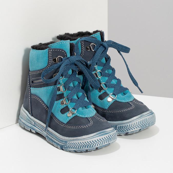 Modrá dětská kožená kotníčková obuv mini-b, modrá, 296-9602 - 26